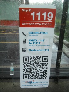WRTA in Worcester uses these QR codes posting a link to transitmob.com, which re-directs to the WRTA BusTracker