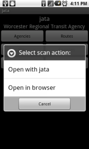 Jata allows you to choose how to open the scan result.