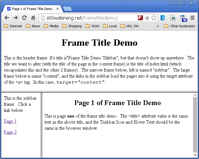 HTML Frame Titles – Stillwater Embedded Engineering